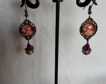 Earrings baroque Japanese flowers