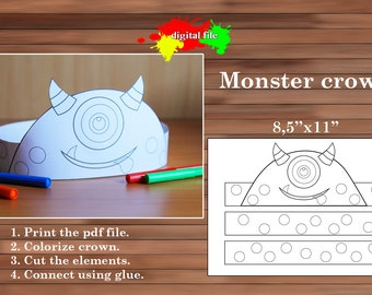 Monster Crown, Coloring Crown, PDF, Instant Download