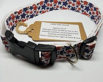 Large Dog collar - red & blue stars