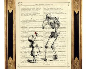 Girl sad Skeleton Art Print Rose Flower Poster Gothic - Vintage Victorian Book Page Art Print Steampunk