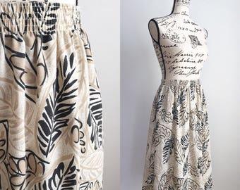 Vintage Midi Skirt, Midi Floral Skirt, Leaf Print Skirt, 80s Skirt, Vintage Midi Skirt with Pockets