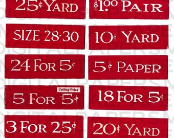 Neue alte Lager / Store Preisschild Label / Preis Tag Etiketten / digitale Instant Download / antike Druck / Papier Ephemera / Store Preisgestaltung Etiketten