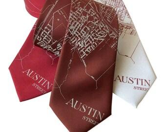 Austin Texas Map Silk Necktie, Austin Texas wedding ideas austin wedding groomsman gift Austin Map Tie UT Austin Graduation Gift for men