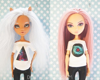 Monster! 6 styles! Handmade! Doll clothes — White T-shirt with a picture of the dolls.