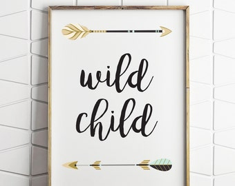 wild child printable decor, childrens room wall decor, nursery printable, wild child kids art, wilderness kids decor