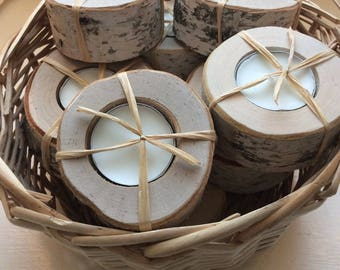 Set of 20 Woodsy Rustic Birch Tealight Candle Holders Wedding Favors