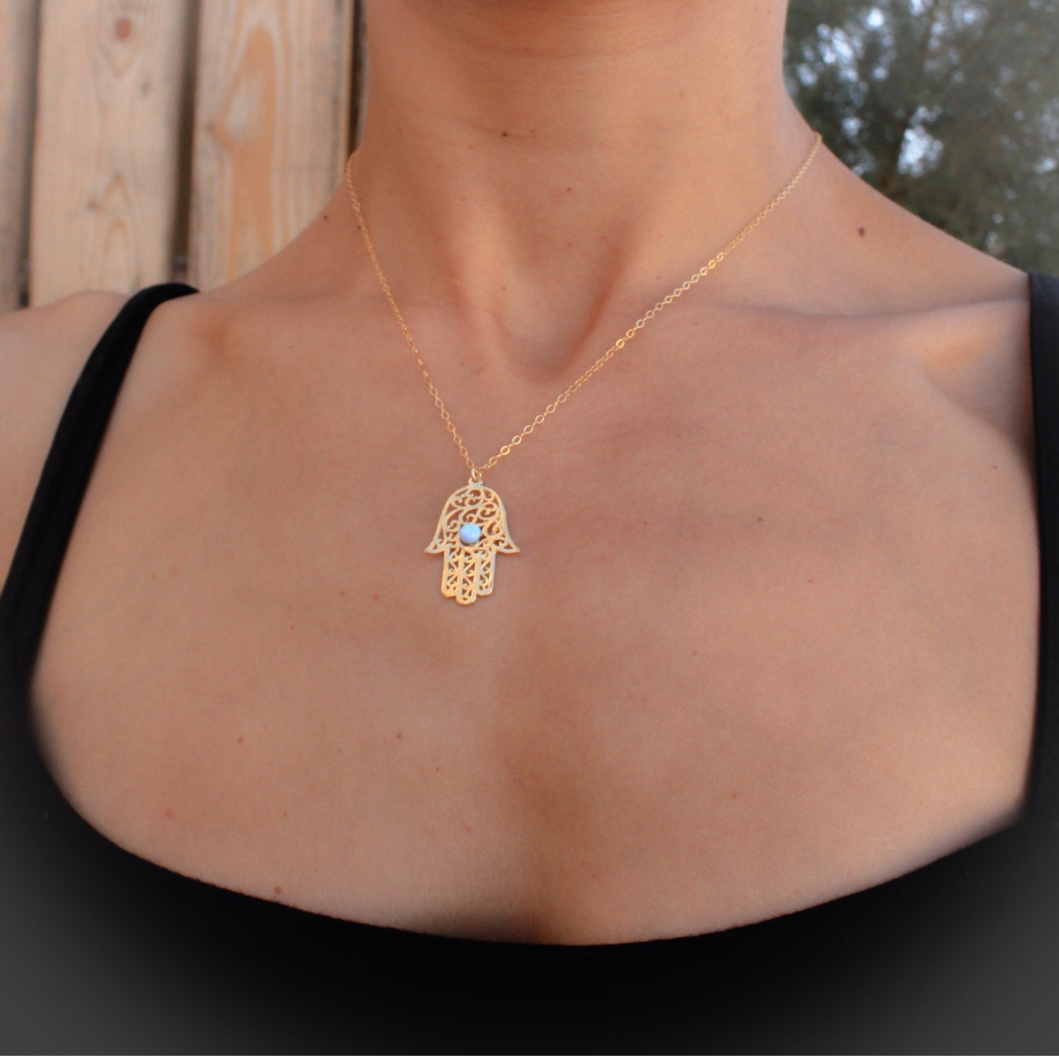 Opal hamsa necklace gold hamsa necklace gold hand necklace zoom aloadofball Gallery