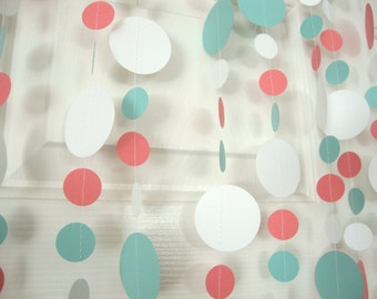 Coral and light teal blue birthday, wedding or baby shower garland