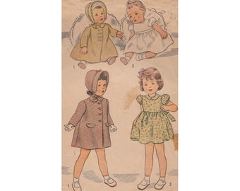 Girls 1940s Dress, Coat and Hat Simplicity Sewing Pattern 4799 Size 3 Breast 22 Short Puffed Sleeves Back Button Self Tie Gathered Waist