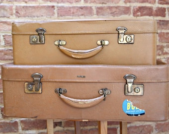 Pair Handsome Mid Century Vintage Antler Suitcases - Perfect for Wedding, Retail, Prop or Decor