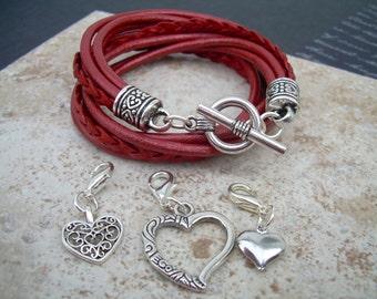 Womens Bracelets Leather, Leather Bracelets, Womens Bracelets, Charm Bracelet, Heart Charm Bracelet, Charms, Womens Jewelry,