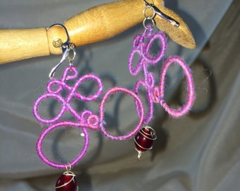 Lilac & Pink Bubbles Merino Wool and Glass Earrings
