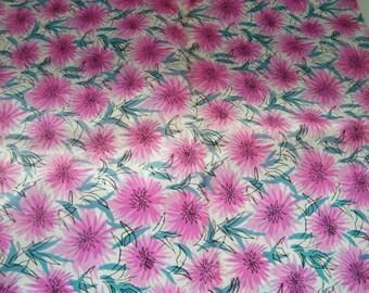 Vintage Taffeta, floral fabric, pink chrysanthemums, formal,lining, 4 yards