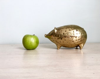 Ben Seibel, mid century brass, Jenfred ware, Brass Figurine, Pig Figurine, brass piggy bank, Mid Century Figurine, Metal Pig, Aged Brass