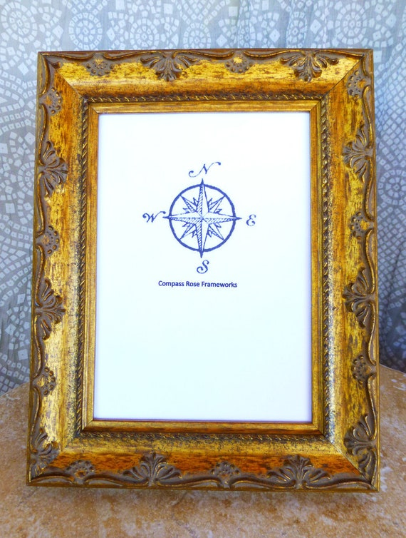 Wood Picture Frame Gold Antique Finish Classic Handmade Tabletop ...