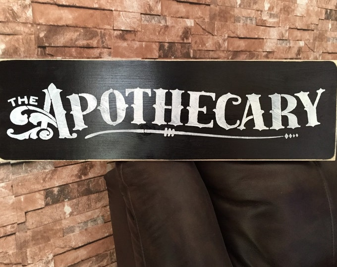 The Apothecary Black Distressed Fixer Upper Style Farmhouse Wood Sign Kitchen Bathroom