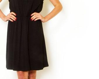 Black day dress  summer dress Button mini dress