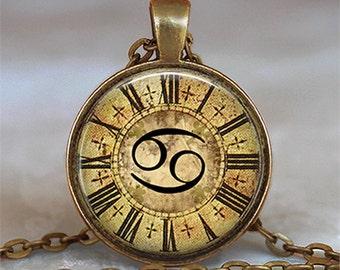 Steampunk Zodiac Cancer pendant, Cancer necklace Zodiac necklace clock Zodiac pendant astrology pendant key chain key ring key fob