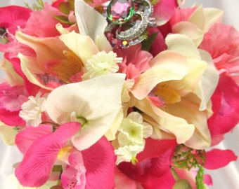 Pink and Ivory Cascading Victorian Bridal Brooch Bouquet with Azaleas and Cymbidium Orchids ready to ship