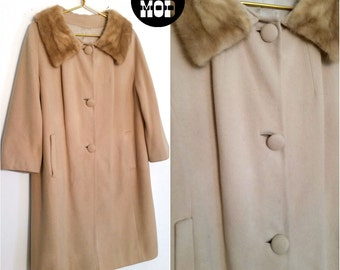 Perfect Vintage Beige Brown Wool Fur Collar 60s Winter Coat