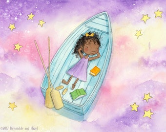 The Dreamer - African American Girl in Rowboat - Fine Art Print