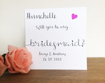Will you be my bridesmaid card, will you be my bridesmaid gift, will you be my bridesmaid, personalised bridesmaid card, bridesmaid card,