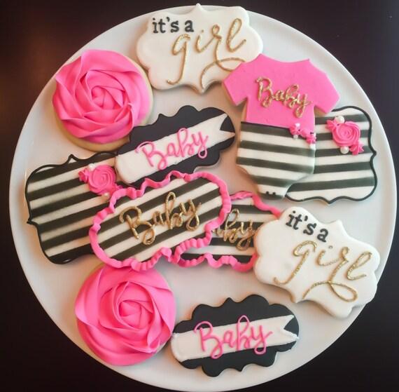 Elegant Kate Spade Inspired Baby Shower Cookies / One Dozen