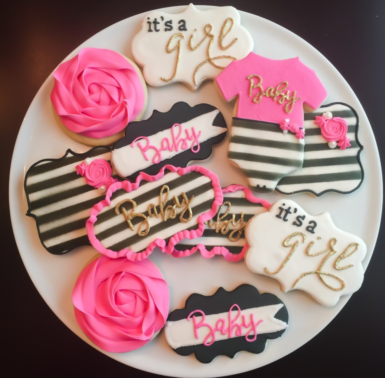 Kate Spade Inspired Baby Shower Cookies / One Dozen