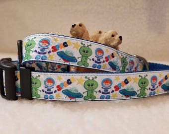Space Man Handmade Dog Collar 1 Inch Wide Large & Medium