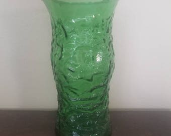Vintage Green Glass Tall Vase