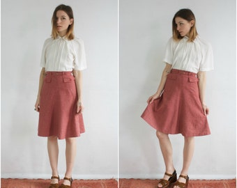 60s Red Wool Skirt // Vintage 50s Plaid Tweed Wool Red Checkered High Waisted Midi Skirt Secretary Pencil A Line Skirt Small Petite
