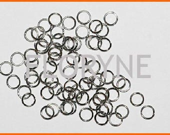 Open round 6Mm rings 100 X 0, 8Mm, antique silver