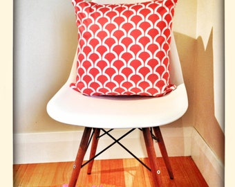 Coral and White Billow Geometric Arches Cushion Cover