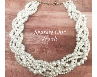 Braided Pearl Statement Necklace Bridesmaid Jewelry Wedding Jewelry Pearl Necklace Statement Necklace Multistrand