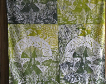 printed fabric yellow and green print on wood