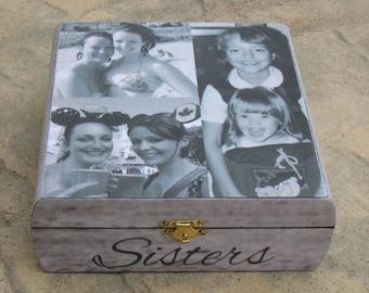 Personalized Maid of Honor Keepsake Box, Custom Bridesmaid Photo Collage Memory Box, Unique Wedding, Bridal Shower, Birthday, Sister Gift