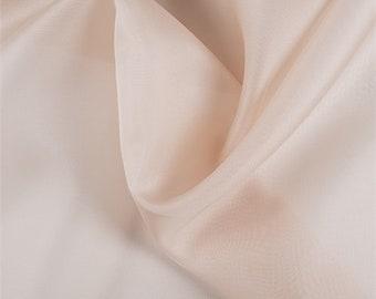 Pale Peach Silk Organza, Fabric By The Yard