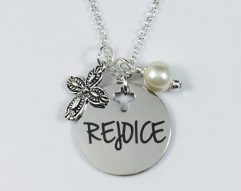 REJOICE - Laser Engraved Charm Necklace - Stainless Steel Pendant w/ your color choice of pearl - Inspirational Necklace - Religious Jewelry