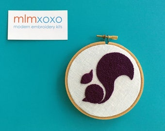 """Embroidery KIT by mlmxoxo.  Squirrel.  modern embroidery.  animal embroidery. kit home decor.  nature lover's gift.  4"""" hoop art  embroidery"""