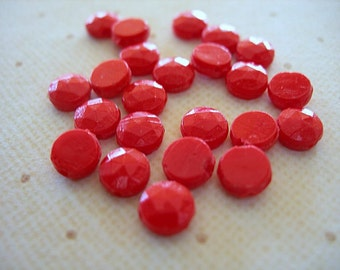 RED Nailhead Beads 6mm lot of 22 Vintage Glass Sew-ons Czech Faceted Flatbacks full strand
