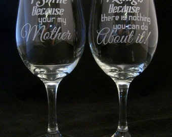 I Smile Because Your My Mother  wine glass, Mothers birthday gift, moms birthday, Birthday gifts, Mothers day gift, Mothers christmas gift