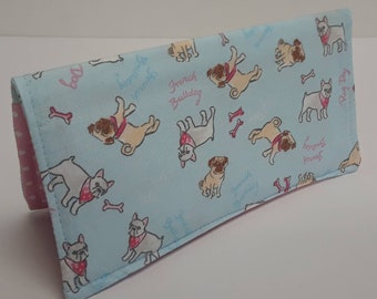Cute Pugs Dogs Checkbook Cover Coupon Holder Clutch Purse Billfold Ready-Made Blue