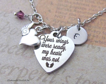 Your wings were ready my heart was not Winged Heart Charm Personalized Hand Stamped Initial Birthstone Antique Silver Memorial Necklace