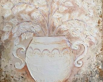 "White Plants with a vase - #3, original impasto Impressionism painting, 8"" x 10"" Yoko Collin, インペストオリジナル画"