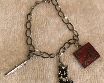 Sterling Silver Charm Bracelet with 3 Charms Colorado Flute, Cat