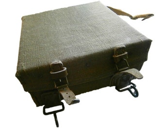 Vintage WWII Italian Army TNT Case military box military canvas steel world war 2 carrier