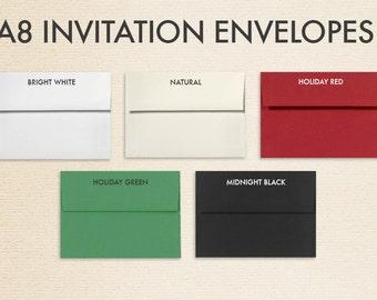 A8 Invitation Envelopes (5 1/2 x 8 1/8) - Pick A Color (50 Qty.)