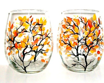 Hand Painted Wine Glasses Fall leaves Autumn Fall Trees Set of 2 - 21 oz. Hand Painted Stemless Wine Glasses Orange, Yellow, Brown