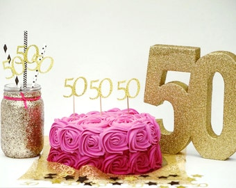 50th cupcake toppers- Glittery Gold-  50th Birthday cupcake toppers