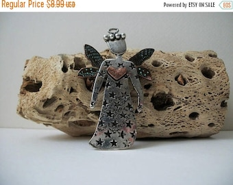 ON SALE Vintage Patina Wings Over Sized Metal Guardian Garden Angel Pin 9617